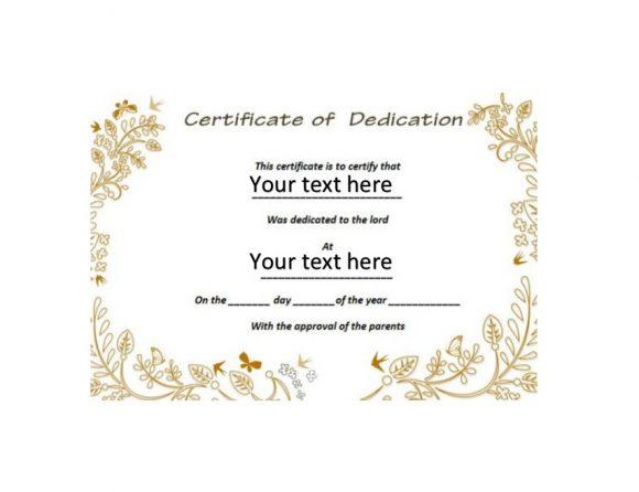 Baby Dedication Certificate Template 26