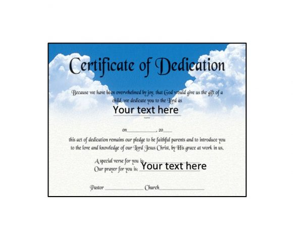 Baby Dedication Certificate Template 27