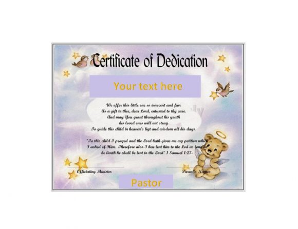 Baby Dedication Certificate Template 28