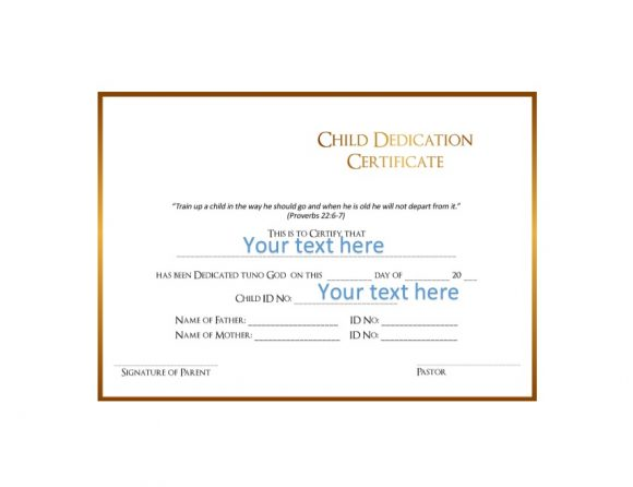 Baby Dedication Certificate Template 29