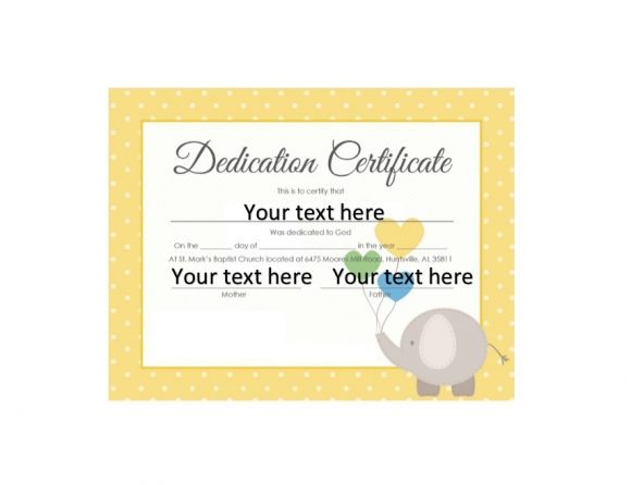 Baby Dedication Certificate Template 30