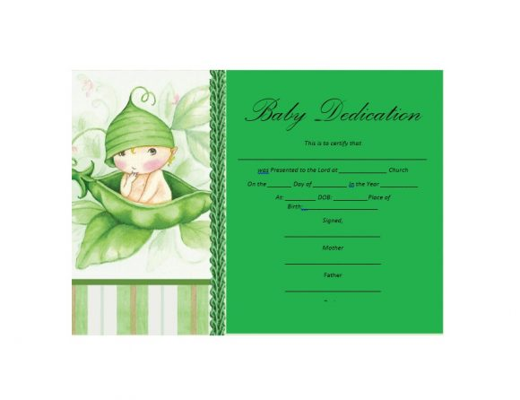 Baby Dedication Certificate Template 31
