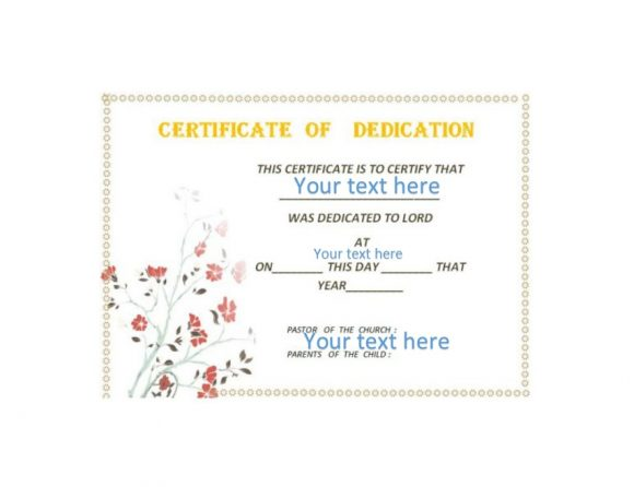graphic regarding Printable Baby Dedication Certificate identified as 50 No cost Boy or girl Determination Certification Templates - Printable