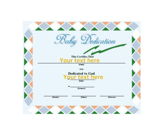 Baby Dedication Certificate Template 42