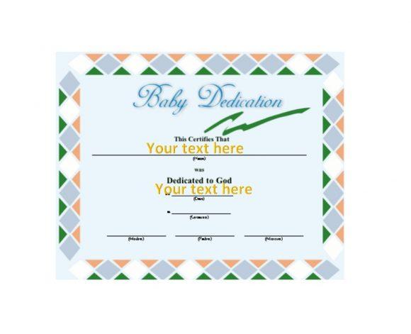 Baby Dedication Certificate Template 42