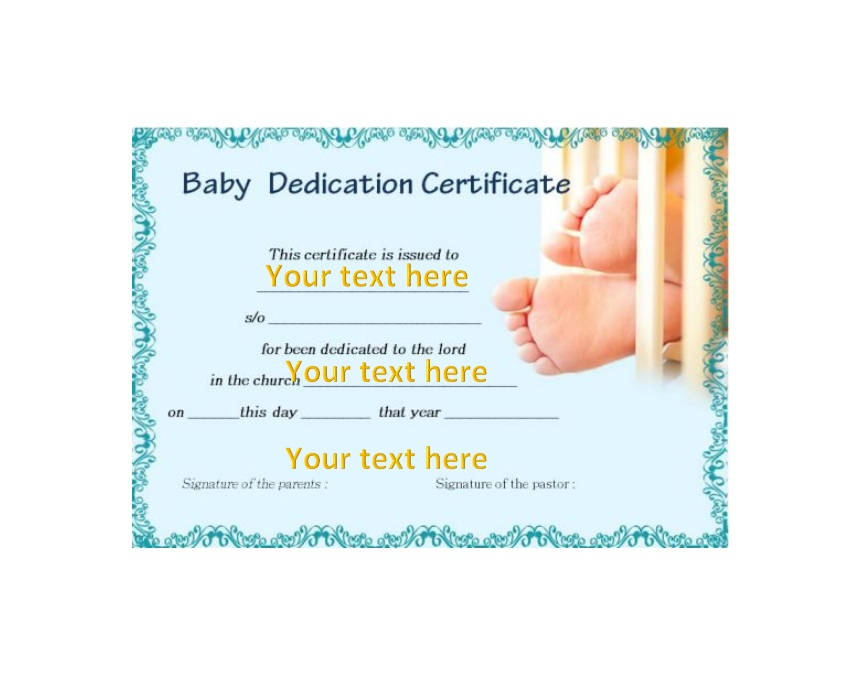 graphic about Printable Baby Dedication Certificate called 50 Cost-free Boy or girl Devotion Certification Templates - Printable