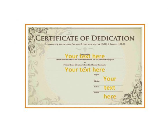 photograph regarding Printable Baby Dedication Certificate named 50 Free of charge Child Devotion Certification Templates - Printable
