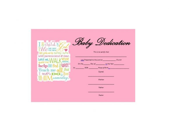 Baby Dedication Certificate Template 46