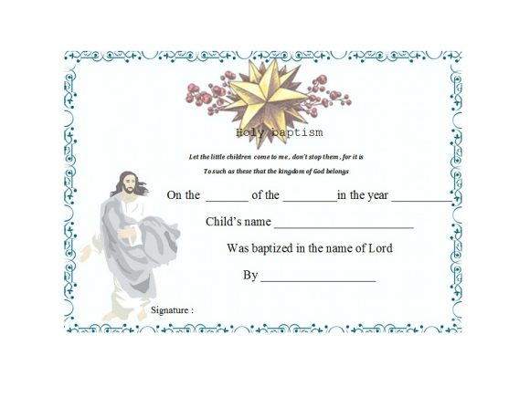 graphic regarding Printable Baptism Certificates called 47 Baptism Certification Templates (Totally free) - Printable Templates