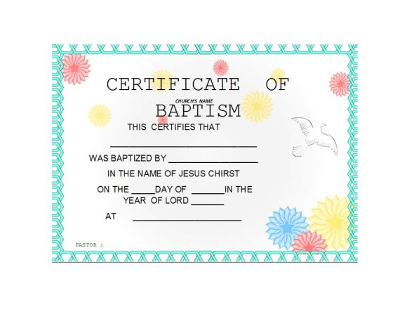 Baptism Certificate Template 02