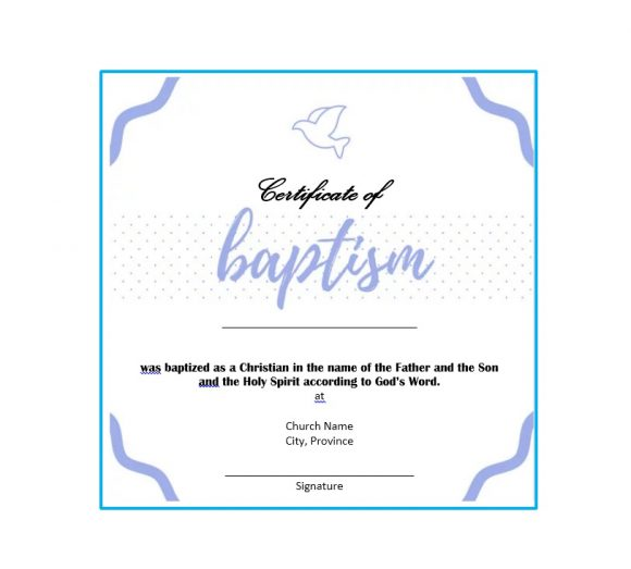 Free Editable Baptism Certificate Template from printabletemplates.com