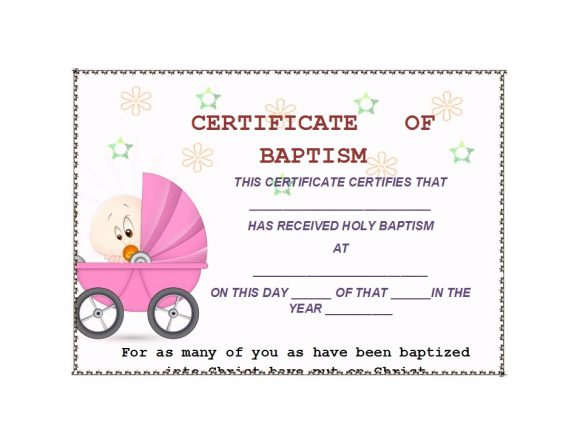 Baptism Certificate Template 12