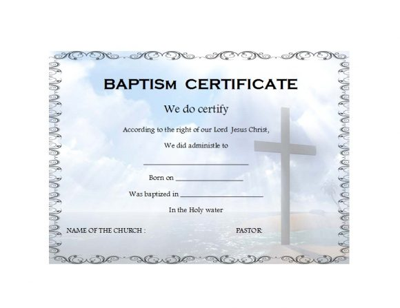 graphic relating to Printable Baptism Certificates named 47 Baptism Certification Templates (Cost-free) - Printable Templates