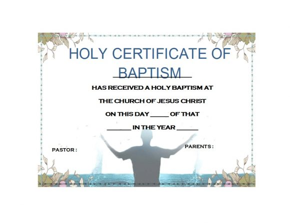 picture relating to Printable Baptism Certificates known as 47 Baptism Certification Templates (Cost-free) - Printable Templates