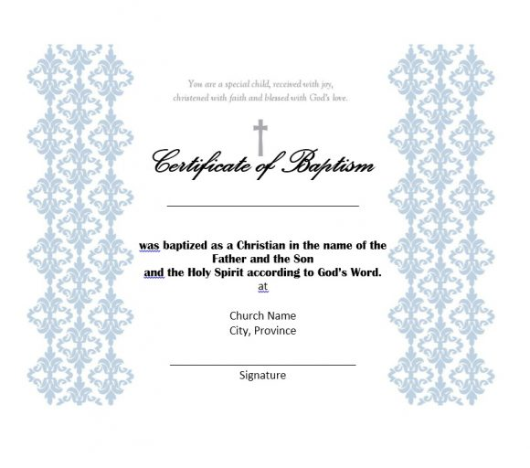 Baptism Certificate Template 20