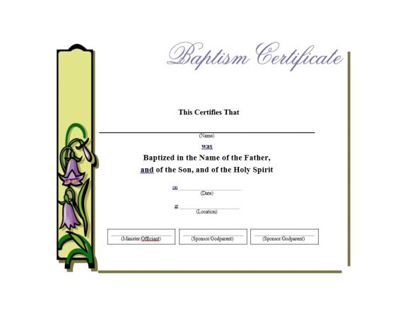 Baptism Certificate Template 25