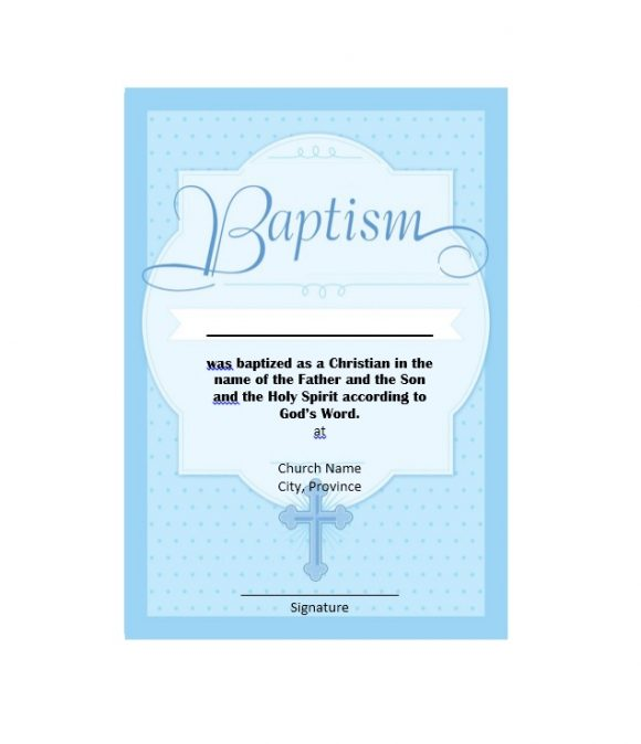 Baptism Certificate Template 26