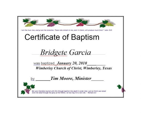 Baptism Certificate Template 30