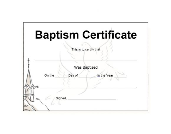 picture regarding Printable Baptism Certificates called 47 Baptism Certification Templates (Absolutely free) - Printable Templates