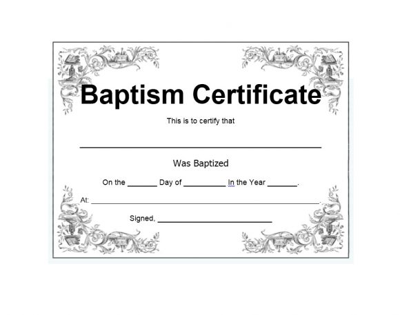 graphic relating to Free Printable Baptism Certificates referred to as 47 Baptism Certification Templates (Cost-free) - Printable Templates