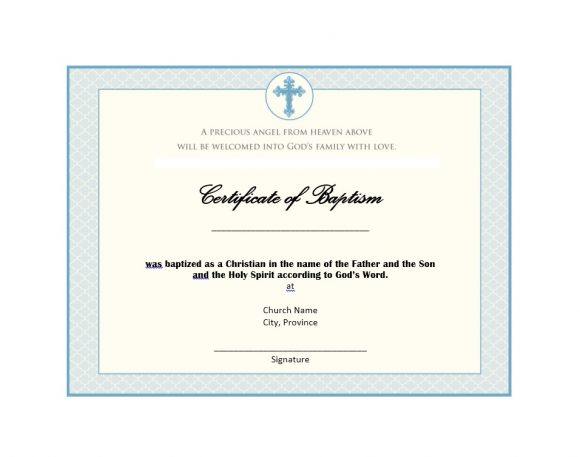 Baptism Certificate Template 33