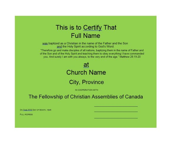 Baptism Certificate Template 35