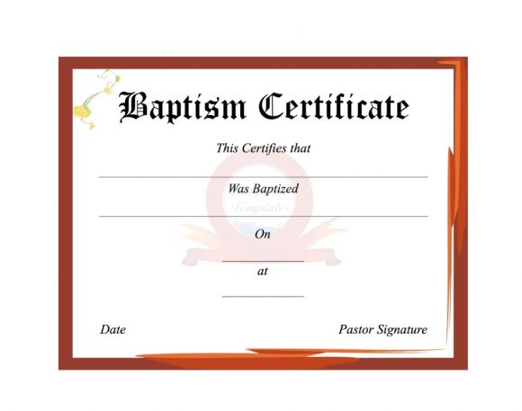 Baptism Certificate Template 38