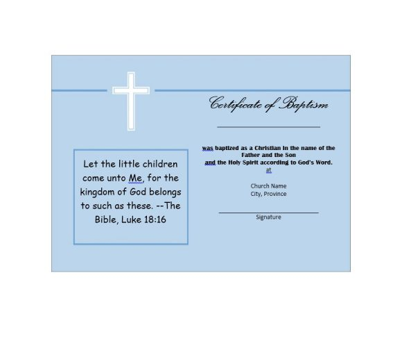 Baptism Certificate Template 39