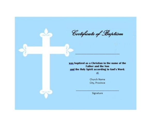 Baptism Certificate Template 40