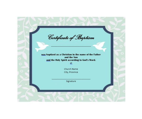 Baptism Certificate Template 41