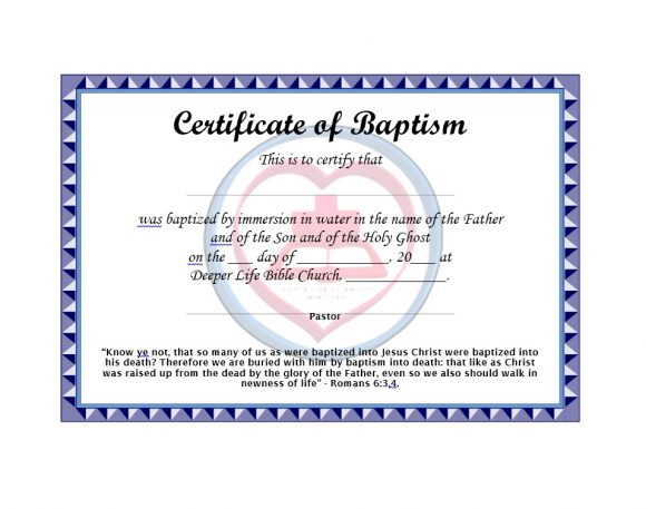 Baptism Certificate Template 42