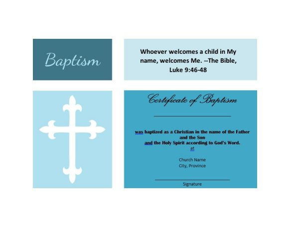 Baptism Certificate Template 43