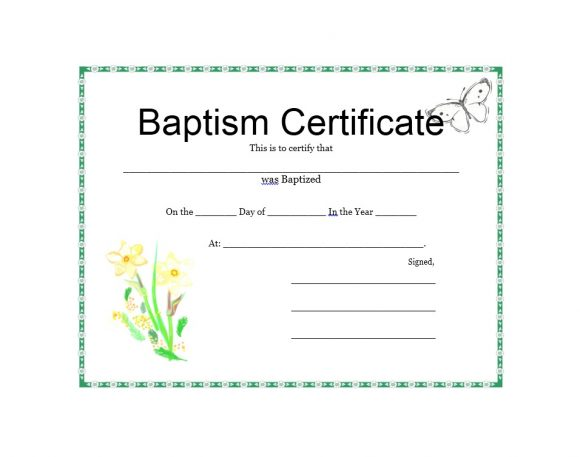 Baptism Certificate Template 45