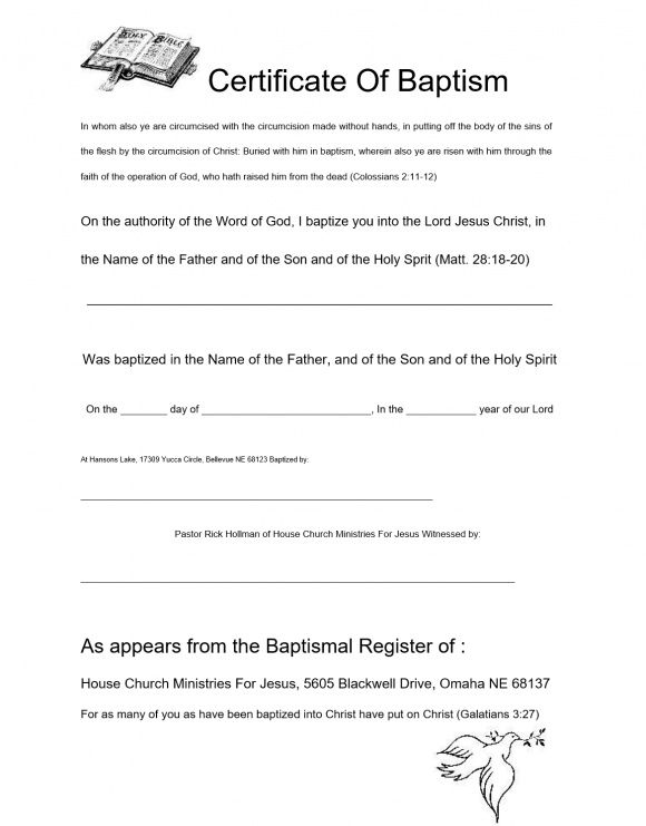 Baptism Certificate Template 46