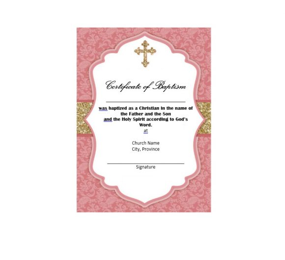 Baptism Certificate Template 47