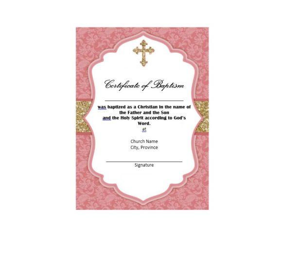 Baptism Certificate Template 47