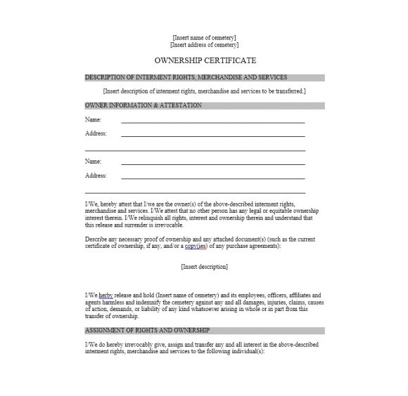 Certificate of Ownership Template 02