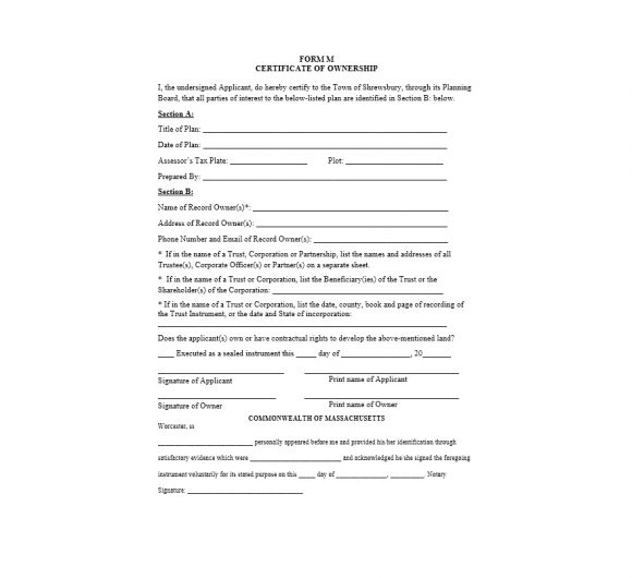 Certificate of Ownership Template 12