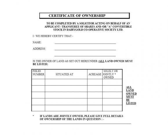 Certificate of Ownership Template 16