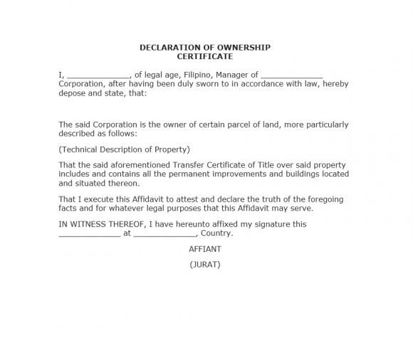 Certificate of Ownership Template 17
