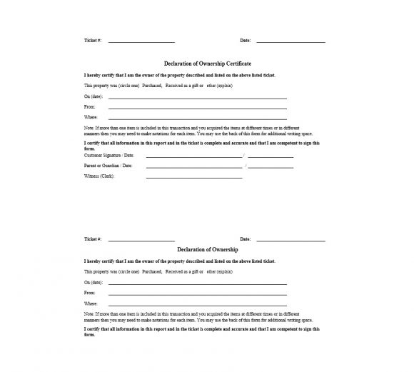 Certificate of Ownership Template 18