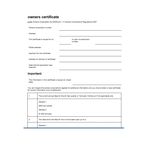 Certificate of Ownership Template 20