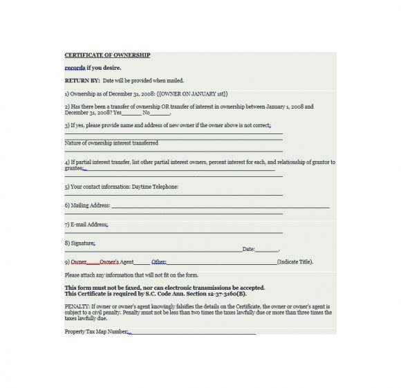 Certificate of Ownership Template 21