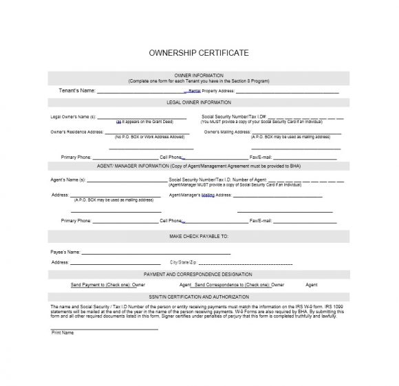 Certificate of Ownership Template 23