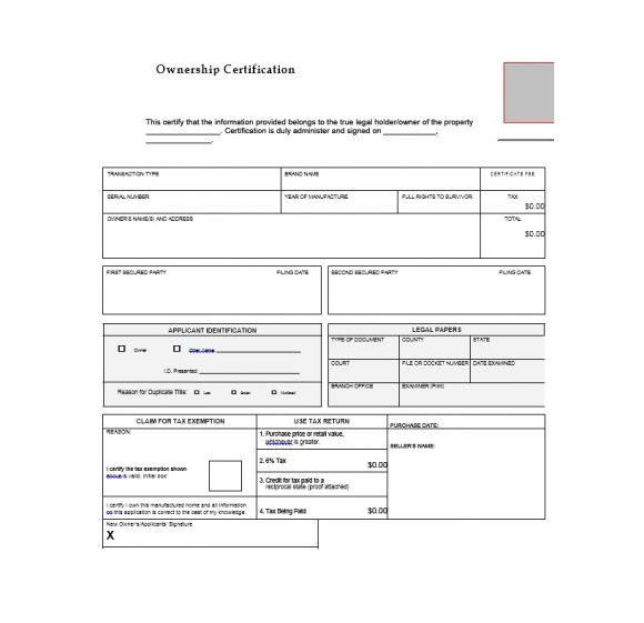 Certificate of Ownership Template 25