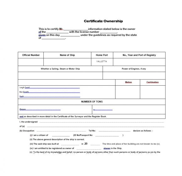 Certificate of Ownership Template 30