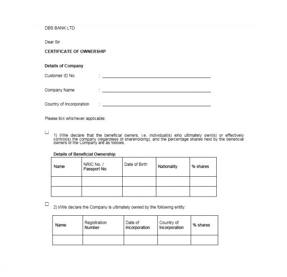 Certificate of Ownership Template 31