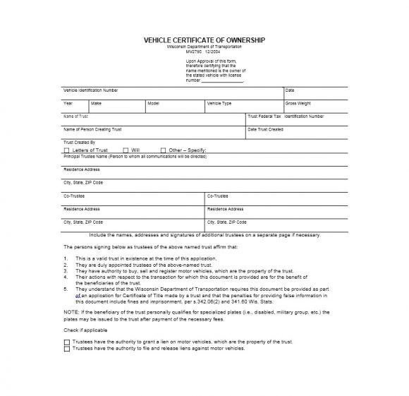 Certificate of Ownership Template 35