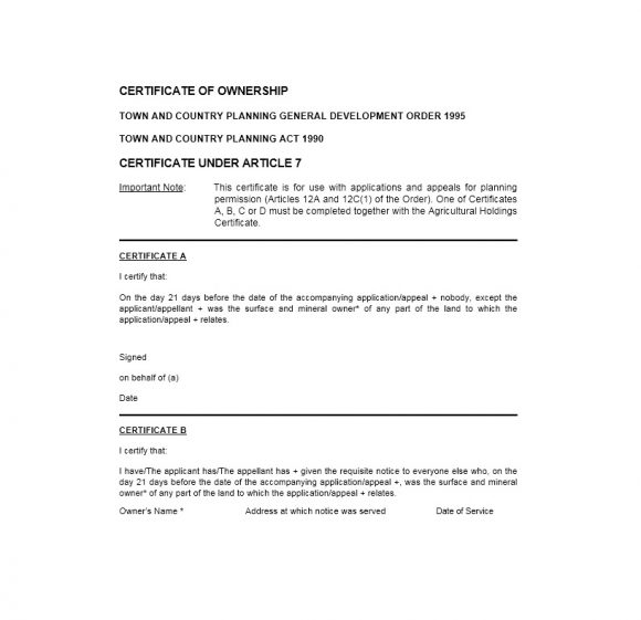 Certificate of Ownership Template 46