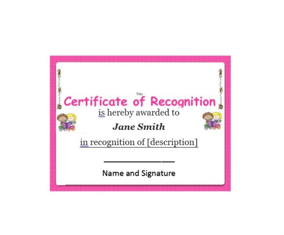 Certificate of Recognition 01